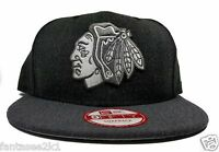Chicago Blackhawks New Era 9Fifty Charcoal Heather Action Snapback Hat Cap  NHL