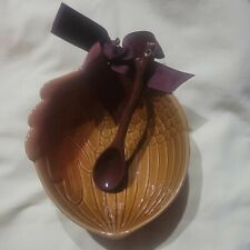 Hallmark Ceramic Autumn Acorn Bowl with Twig or Branch Serving Spoon