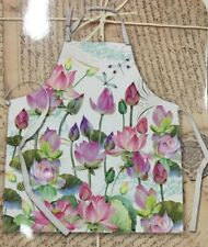 Michel Design Works Cotton Chef's Apron Watercolor Water Lilies Ship Same Day