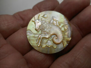 """Carved Seagoat on Clouds Half Goat & Fish Pearl New MOP Button Capricorn 1-1/4"""""""