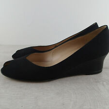 BRUNO MAGLI sz 8.5 b BLACK FABRIC PATENT LEATHER OPEN TOE WEDGE SHOES  g2