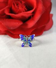 Sterling Silver Siam Blue Butterfly 3.8g Ring Size 9.5 Cat Rescue