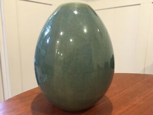 West Elm Glazed Pottery Vase Egg Shape Blue Greens Clear Shiny Glaze Modern