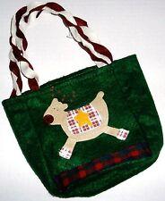 """Small Collectable Christmas Sack  Raindeer  6"""" x 5 1/2' x 3""""  Green"""
