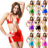 Women Sexy Metallic Wet Look Micro Mini Dress PVC Bandage Party Clubwear Costume