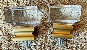 Cambria Finial Premier Profile Square Acrylic w Gold Lot of 2 White NEW $25 MSRP