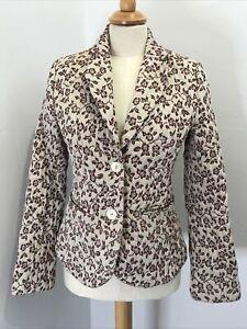 H&M Cream / Aubergine Embroidered Boho Blazer Jacket UK 8 / 10 Cottagecore