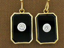 s SUPERB Genuine 9K SOLID Yellow Gold NATURAL Diamond & Onyx Drop Earrings