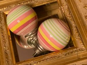 POTTERY BARN CERAMIC ROUND CURTAIN ROD FINIALS PASTEL PINK STRIPE PAIR SET 2 NEW