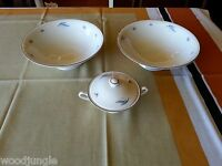 Vintage SYRACUSE CHINA CELESTE FOOTED VEGETABLE BOWLS SUGAR  MID CENTURY MODERN