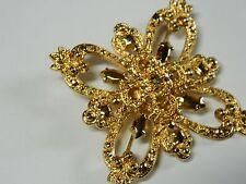 St. John Large Maltese Cross Gold Tone Ornate Brooch