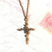 Cross necklace Rose gothic charm Antique gold pendant Spiritual jewelry