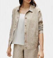 Eileen Fisher Womens Jackets Deep Brown Size Plus 1X Lightweight Linen $258- 158