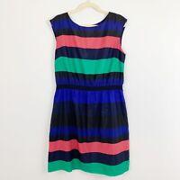 Ann Taylor LOFT Size Large Multicolor Striped Elastic Waist Dress Sleeveless