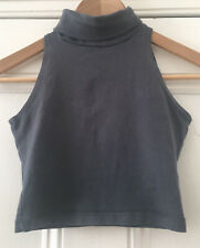 American Apparel Women's Grey Polo Neck Sleeveless Cropped Vest Top XS UK 4-6
