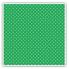 2 x Square Stickers 10 cm - Green White Polka Dot Pattern Print  #45238