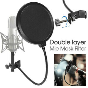 Microphone Recording Studio Wind Screen Pop Filter Mask Shield Double Layer