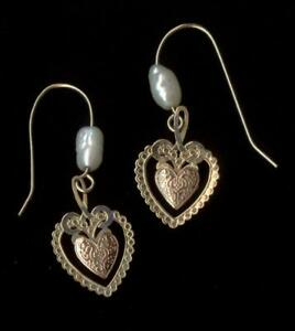 14K 32mm Solid Yellow & Rose Gold Round White Pearl Heart Hook Stud Earrings fp