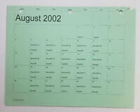DAWSON'S CREEK set used paperwork ~ PRODUCTION CALENDAR schedule page ~ Aug 2002