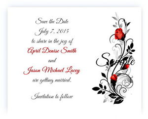 100 Personalized Custom Red Rose Floral Bridal Wedding Save The Date Cards