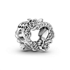 Authentic Pandora Open Heart & Rose Flowers 799281C01 Charm