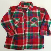 Little Levi's Button Up Plaid Soft Red Flannel Shirt 2t Toddler vtg 90s Fishing