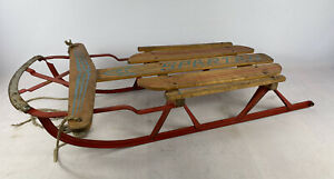Vintage Spartan Wooden Sledge With metal runners Canadian