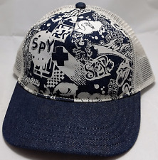 SPY OPTIC SUNGLASSES snapback trucker hat cap adjustable mesh blue white