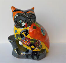 MEXICAN TALAVERA POTTERY OWL ON TREE STUMP SCULPTURE ANIMAL FIGURE 8 3/4""