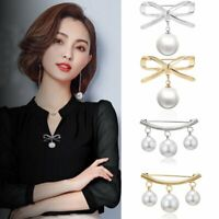Fashion Bow Pearl Fixed Strap Charm Safety Brooch Pin Collar Cardigan Clip Chain