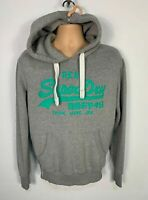 MENS SUPERDRY SIZE SMALL GREY GREEN LOGO CASUAL PULLOVER HOODIE JUMPER SWEATER