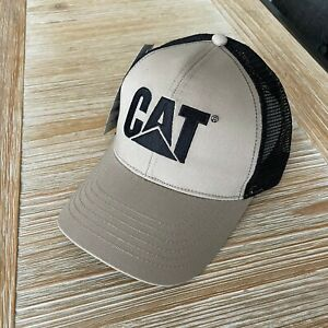 NEW - Caterpillar Cat Equipment Twill / Mesh Hat Cap - Khaki / Black