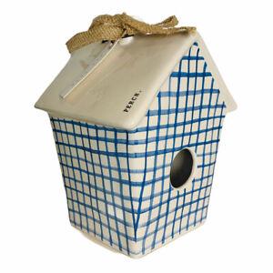 Rae Dunn Perch 2020 Blue Plaid Birdhouse