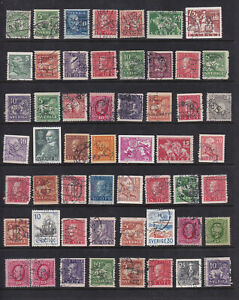 Sweden Perfins on a stockpage. Wide variety of stamps and designs. Nice!