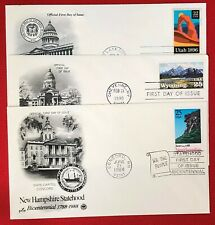 United States - 3 FDCs - Statehood / National Parks / Mountains