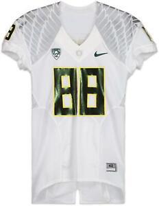 Oregon Team-Issued #88 White and Metallic Green Jersey - 2013 Football Season