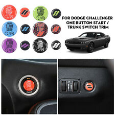 Car Engine Start Stop & Trunk Switch Button Cover Stickers For Dodge Challenger