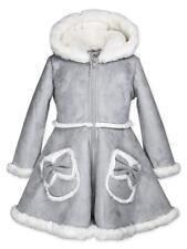 Widgeon Girls' Bow Pocket Hooded Faux Suede Coat 3726, FSY, 2