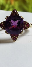10k Yellow Gold 10mm Cushion Deep Purple Amethyst Natural Ruby Size 7 Ring 4.2gm