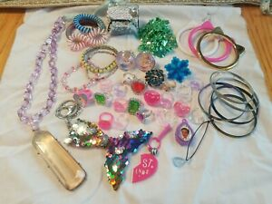 Lot Of Childs Girls Jewelry For Dress Up Bracelets Rings Necklace