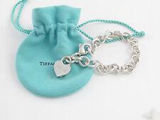 Tiffany & Co Silver Peace Heart Padlock Charm Bracelet Bangle Cuff