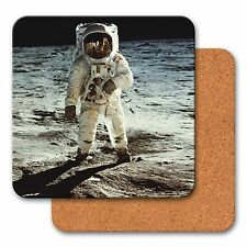 Coasters Cork Astronaut on Moon Space 3D Lenticular Set of 4 #COS40X40-401-S4#