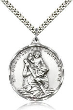 """Large Saint Christopher Medal For Men Round Sterling Silver Necklace 24"""" Chain"""