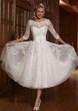 3/4 Sleeve White/Ivory Tea Length Bridal Gown Wedding Dress Custom Size 6~22++