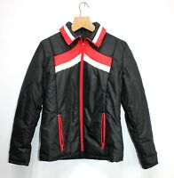 Womens Jacket Hooded Black Red white Retro Pol/Nylon Fitted Vintage 70's Size 38