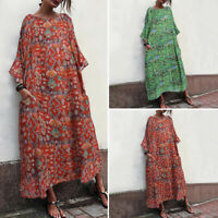 Women Kaftan Long Sleeve Printed Retro Evening Cocktail Dresses Long Maxi Dress