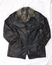 Danier Leather Jacket Faux Fur Lining Black Thick Heavy Warm sz S