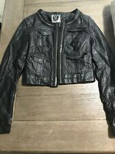 Guess Womens Crop Jacket Faux Leather Moto Black 4 Pocket Size S Small