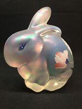 Fenton Art Glass Hand Painted Crystal Carnival Bunny Rabbit