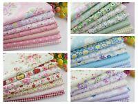 "7pcs (9.5""x9.5"") pink /blue/green/red/purple Quilt 100%cotton Fabric bundle"